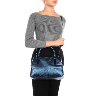 Женская синяя сумка из металлизированной кожи Ripani