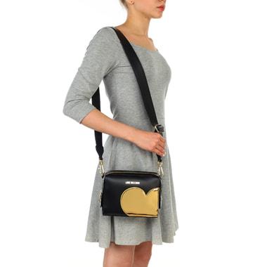 Маленькая черная сумка кросс-боди с золотой аппликацией Love Moschino