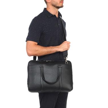 Мужская деловая сумка из натуральной черной кожи Stevens