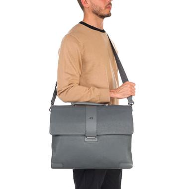 Вместительный серый портфель из натуральной кожи Piquadro