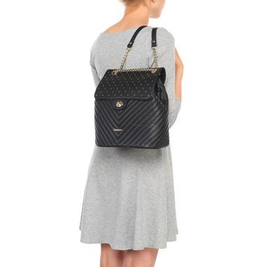 Кожаный стеганый черный рюкзак с золотыми клепками Marina Creazioni