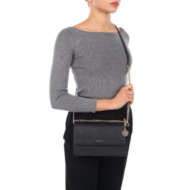 Маленькая кожаная сумочка на цепочке через плечо DKNY
