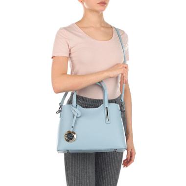 Женская кожаная сумка голубого цвета Fabrizio Poker