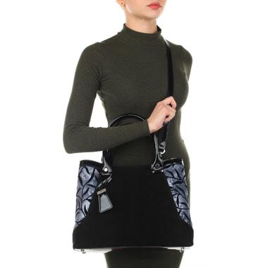 Вместительная женская сумка из лакированной кожи и замши Gilda Tonelli