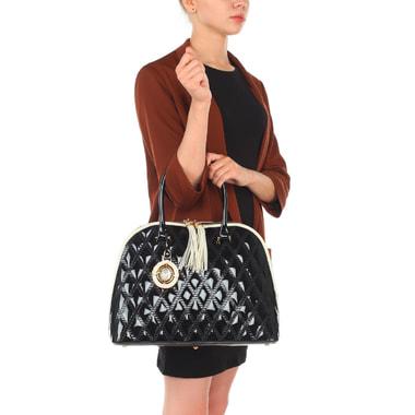 Женская черная лаковая сумка со светлой окантовкой Valentino Orlandi