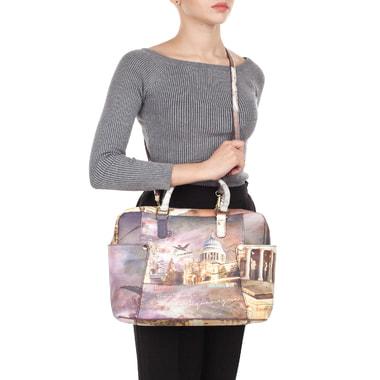 Вместительная кожаная сумка с принтом Acquanegra