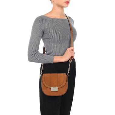 Маленькая замшевая сумка кросс-боди с откидным клапаном DKNY