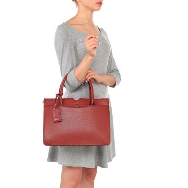 Вместительная классическая сумка из сафьяновой кожи DKNY